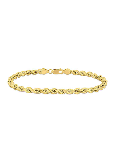 Mens Rope Chain Bracelet in 10k Yellow Gold (5 mm/9 in)