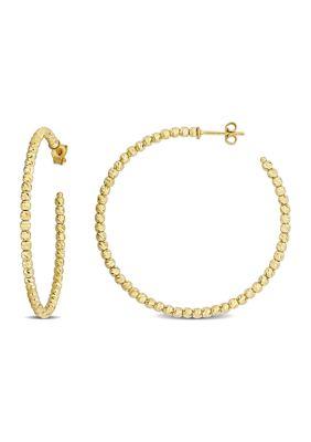 Belk Co. Women Diamond-Cut Beaded 46 Mm Hoop Earrings In 18K Yellow Gold
