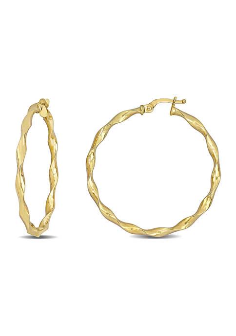 Twisted 35 mm Hoop Earrings in 10k Yellow Gold