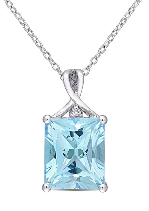 Blue Topaz and White Topaz Pendant with Chain in Sterling Silver