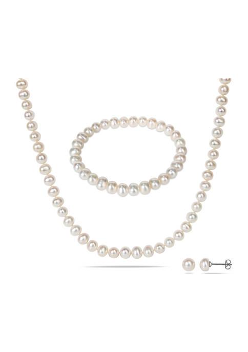 Belk & Co. 3-Piece Freshwater Cultured Pearl Bracelet,