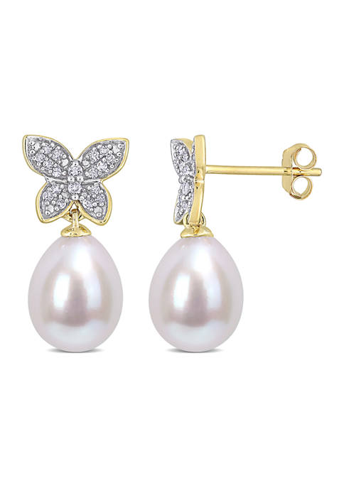 9 Millimeter Freshwater Cultured Pearl and 1/8 ct. t.w. Diamond Butterfly Drop Earrings in 10k Yellow Gold