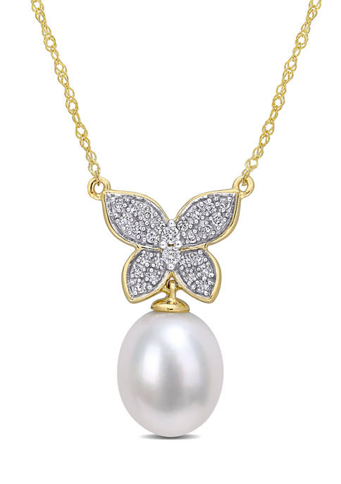 10 Millimeter Freshwater Cultured Pearl and 1/8 ct. t.w. Diamond Butterfly Drop Necklace in 10K Yellow Gold