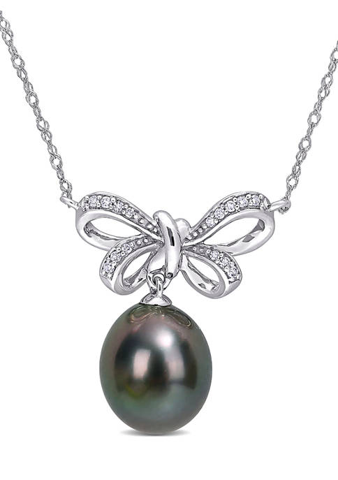 9 Millimeter Tahitian Cultured Pearl and 1/10 ct. t.w. Diamond-Accent Bow Necklace in 10K White Gold