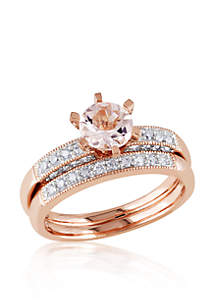 1/3 ct. t.w. Diamond and 4/5 ct. t.w. Morganite Bridal Set in 10k Rose Gold