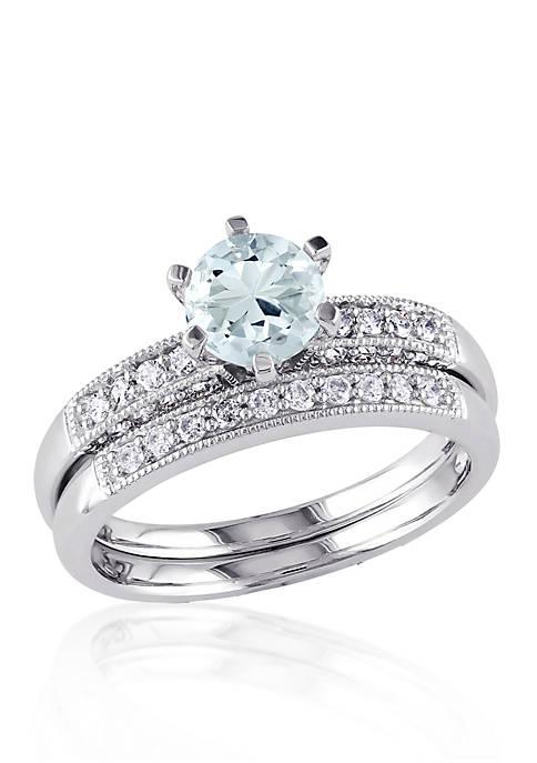 1/3 ct. t.w. Diamond and Aquamarine Bridal Set in 10k White Gold