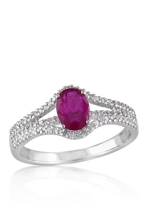 Ruby and Diamond Ring in 10k White Gold