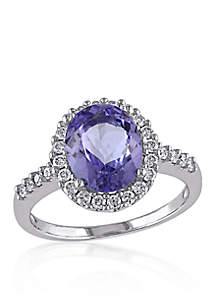 Blue Tanzanite and Diamond Ring in 14k White Gold