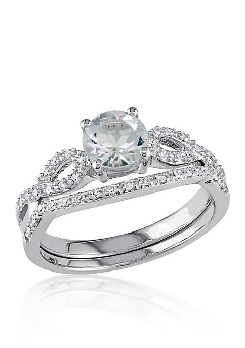 3/4 ct. t.w. Aquamarine and 1/6 ct. t.w. Diamond Set in 10k White Gold