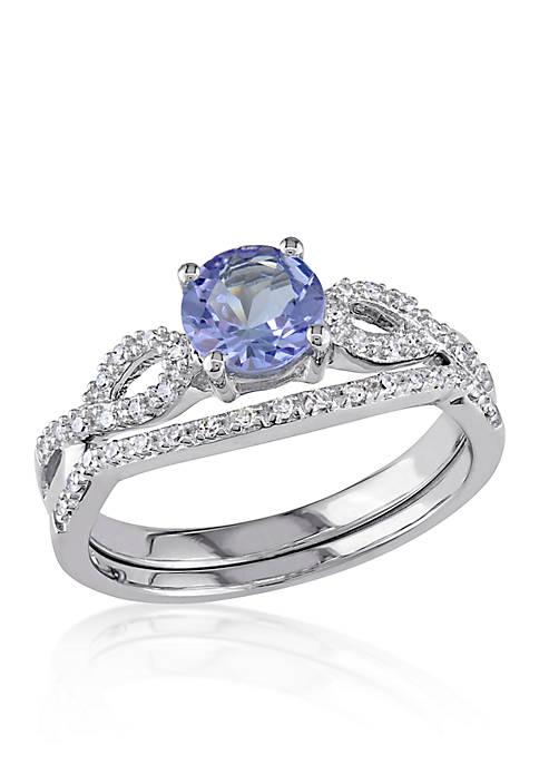1/6 ct. t.w. Diamond and 1.0 ct. t.w. Tanzanite Bridal Set in 10k White Gold