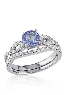 Belk & Co. 1/6 ct. t.w. Diamond and 1.0 ct. t.w. Tanzanite Bridal Set in 10k White Gold