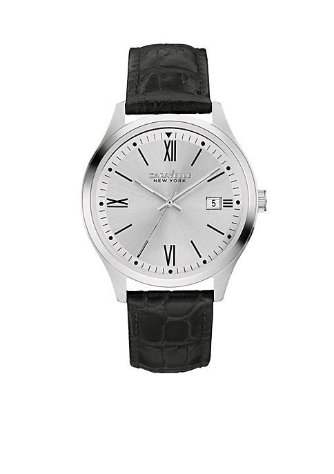 Caravelle New York Mens Stainless Steel And Leather
