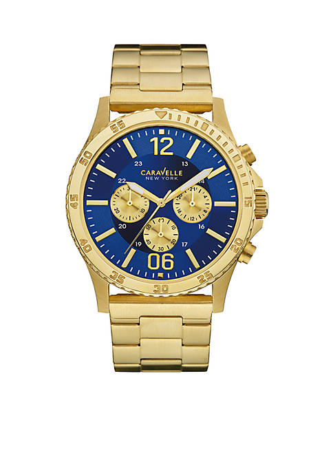 Caravelle New York Mens Gold-Tone Chronograph Sport Watch