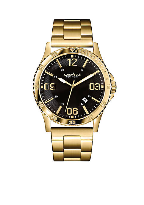Caravelle New York Mens Gold-Tone Watch