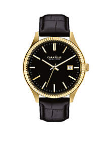 Men's Black Leather and Gold-Tone Watch
