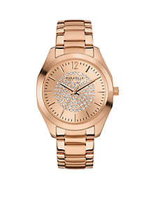 Women's Rose Gold-Tone and Crystal Watch
