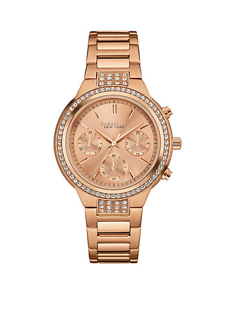 Caravelle New York Womens Rose Gold-Tone Watch