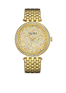 Women's Gold-Tone Champagne Crystal Watch