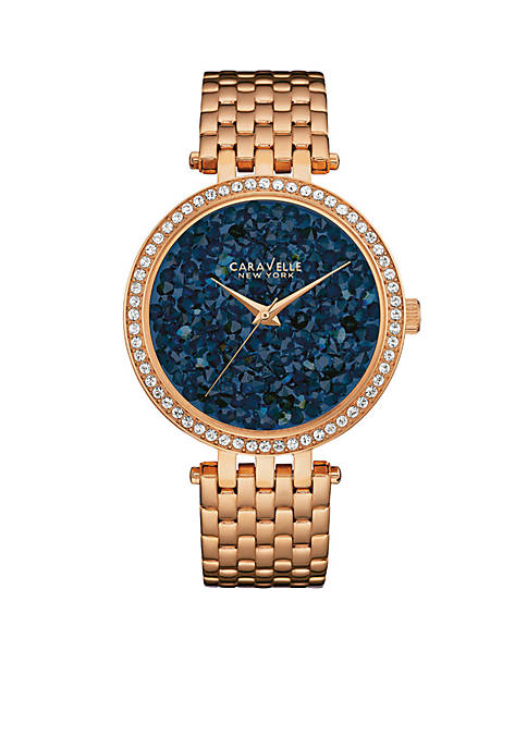 Caravelle New York Womens Rose Gold-Tone and Crystal