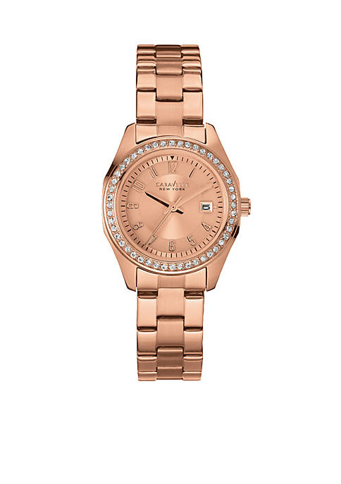 Caravelle New York Womens Rose Gold-tone Crystal Watch