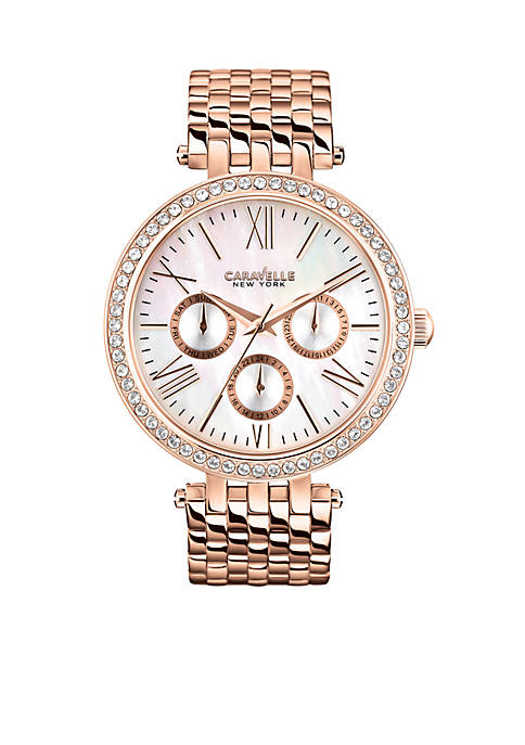 Caravelle New York Womens Rose Gold-Tone Analog Watch
