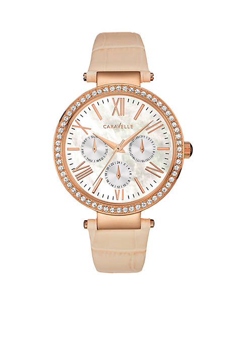 Caravelle New York Womens Tan and Rose Gold-Tone