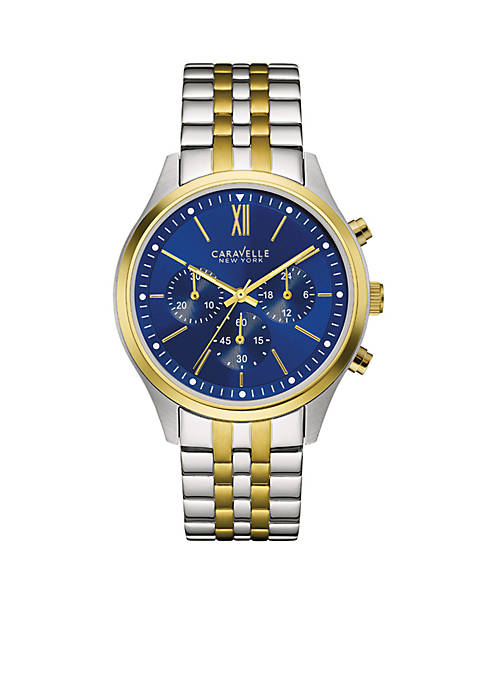 Caravelle New York Mens Two-Tone Chronograph Watch