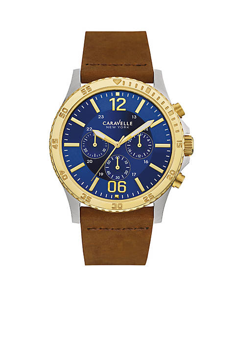 Caravelle New York Mens Leather and Two-Tone Chronograph