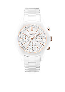 Women's White and Rose Gold-Tone Ceramic Watch