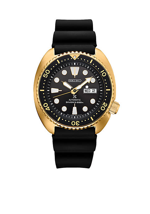 Seiko Gold-Tone Stainless Steel Automatic Prospex Diver Silicone