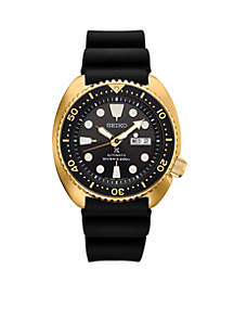 Gold-Tone Stainless Steel Automatic Prospex Diver Silicone Strap Watch