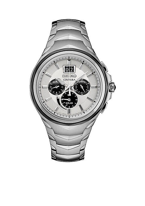 Mens Stainless Steel Solar Chronograph Coutura Bracelet Watch