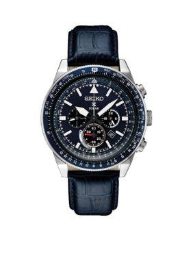 Seiko  Men's Stainless Steel Solar Chronograph Prospex Leather Strap Watch -  5400437SSC631