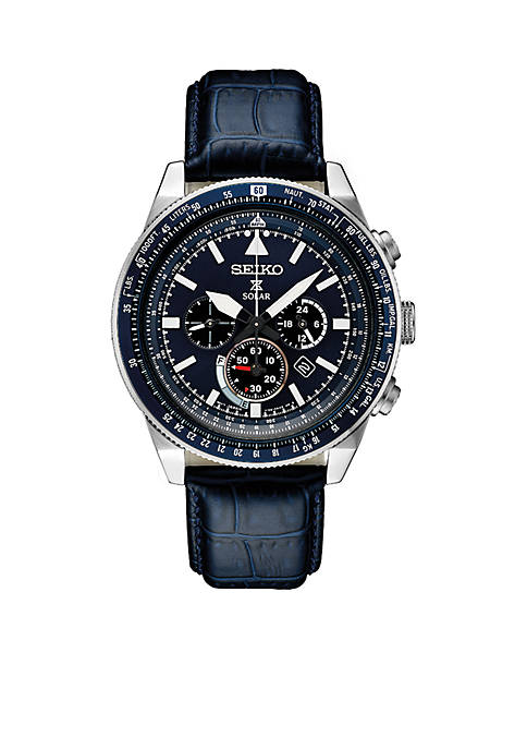 Seiko Mens Stainless Steel Solar Chronograph Prospex Leather