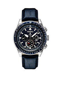 Men's Stainless Steel Solar Chronograph Prospex Leather Strap Watch