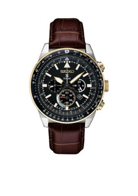 Seiko  Men's Two-Tone Stainless Steel Solar Chronograph Prospex Leather Strap Watch -  5400437SSC632