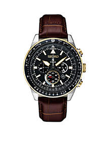 Men's Two-Tone Stainless Steel Solar Chronograph Prospex Leather Strap Watch