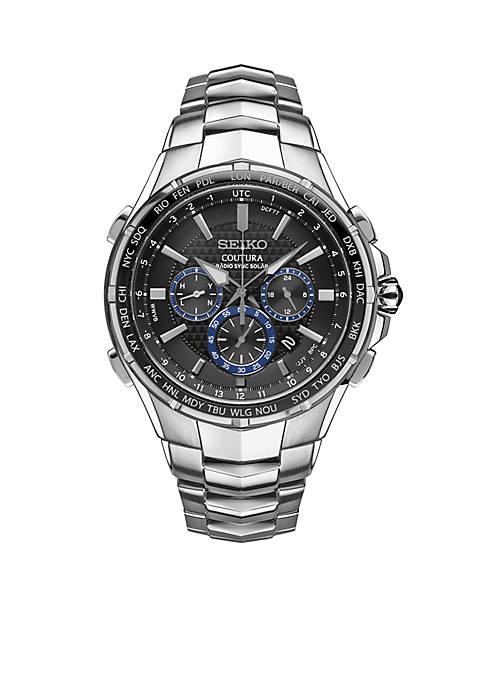 Mens Radio Sync Solar Chronograph Silver-Tone with Black Dial Watch