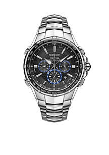 Men's Radio Sync Solar Chronograph Silver-Tone with Black Dial Watch