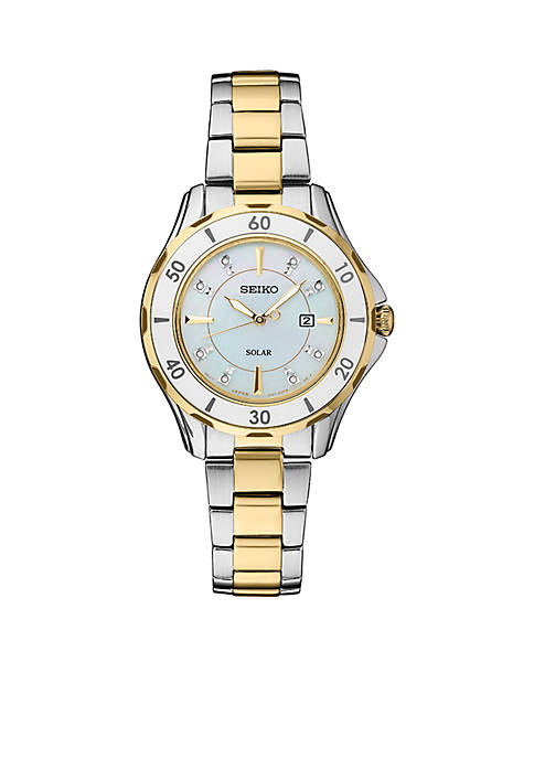 Womens Two-Tone Stainless Solar Dress Diamonds-Accent Sport Bracelet Watch