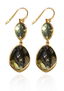 Gold Framed Labradorite Teardrop Earrings