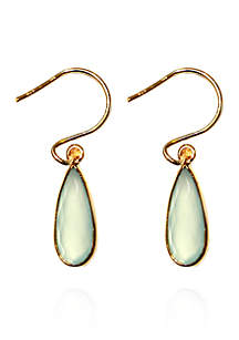 Aqua Chalcedony Drop Earrings in 18k Yellow Gold Over Sterling Silver