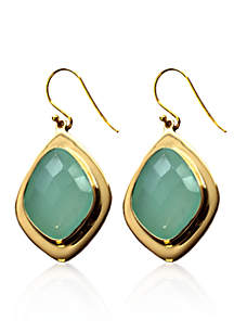 Blue Chalcedony Drop Earrings in 18k Yellow Gold Over Sterling Silver