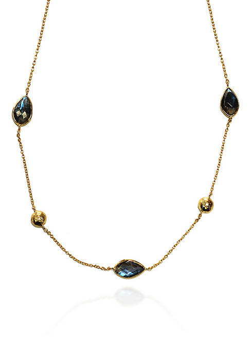Argento Vivo Labradorite Necklace in 18k Yellow Gold