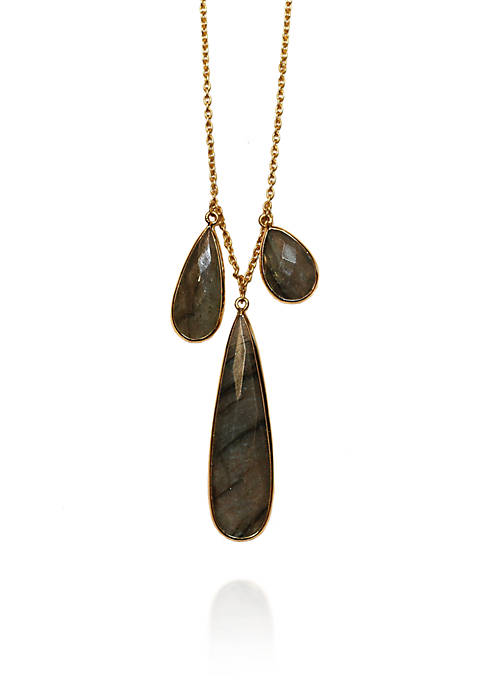 Argento Vivo Triple Labradorite Teardrop Frontal Necklace