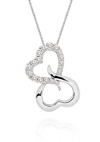Belk co open heart diamond pendant necklace in 10k white gold belk open heart diamond pendant necklace in 10k white gold mozeypictures Gallery