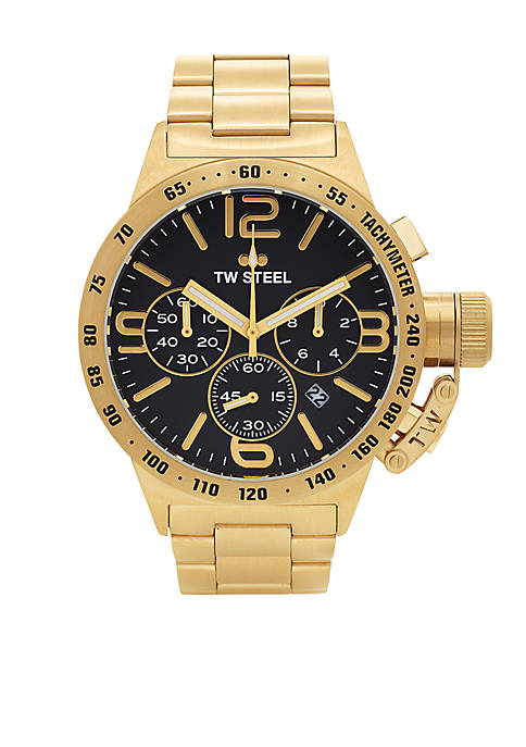 Mens Gold Chronograph Black Dial Watch
