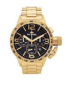Men's Gold Chronograph Black Dial Watch