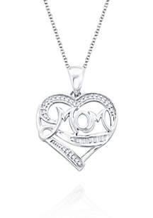 Sterling Silver Pendant Heart Mom