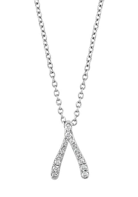Effy® 1/10 ct. t.w. Diamond Wishbone Pendant Necklace